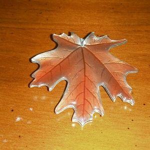 Danford pewter leaf brooch